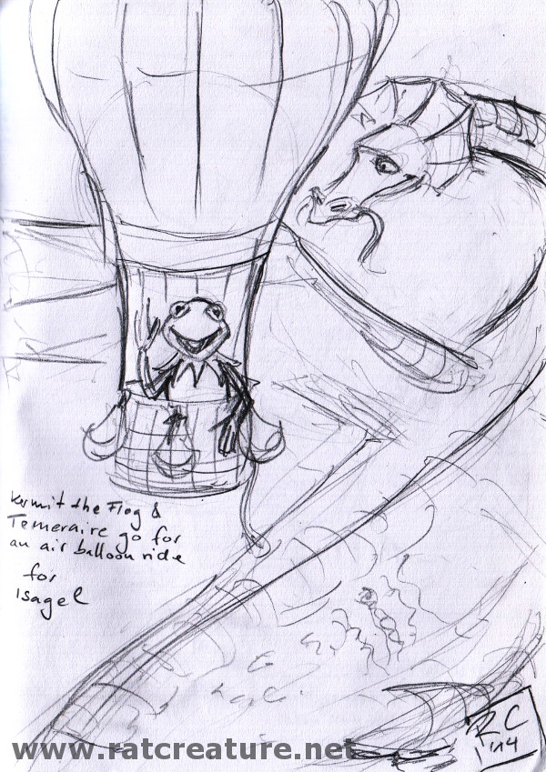 a pencil sketch, Kermit in an air balloon, Temeraire flies next to it