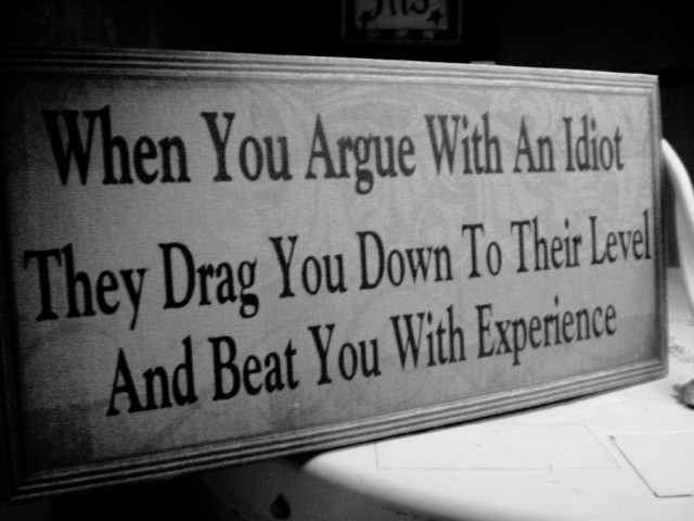 When You Argue With An Idiot, They Drag You Down To Their Level, And Beat You With Experience