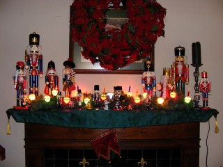 Mantle with our Nutcrackers and Bubble lights