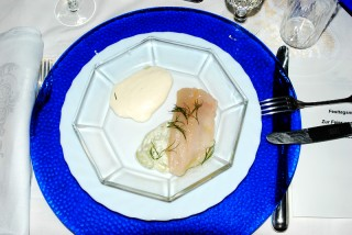 Smoked trout with horseradish sauce and 'noodles' made from cucumbers