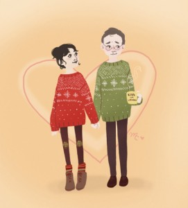 Giles and Jenny in matching sweaters by officialrapunzelfitzherbert