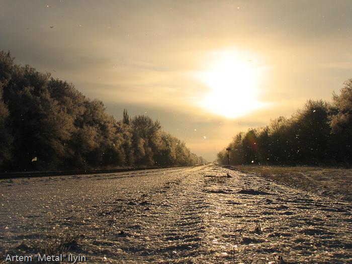 Заснеженная дорога в зимний день. Красноград-Днепропетровск