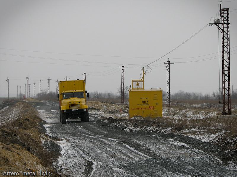 Временные электроопоры. Строительство Еристовского ГОКа, Комсомольск, Полтавская область