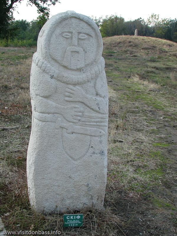 Копия памятника скифскому воину в комплексе Скифский стан. Хортица, Запорожье