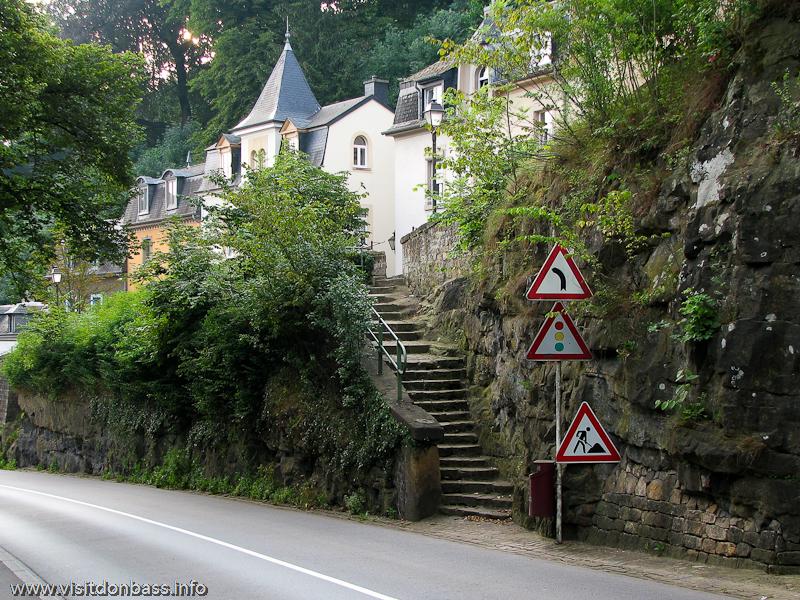 Лестница, соединяющая ярусы Люксембург-сити
