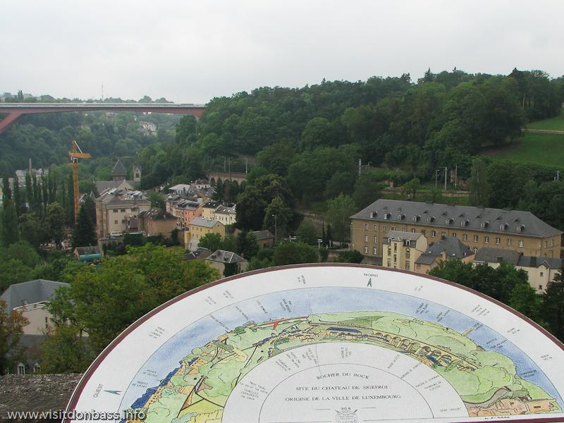 Красный стальной мост Герцогини Шарлотты в Люксембург-сити