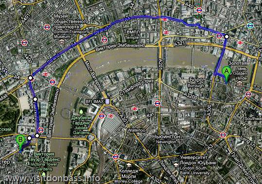 Маршрут прогулки на карте Лондона