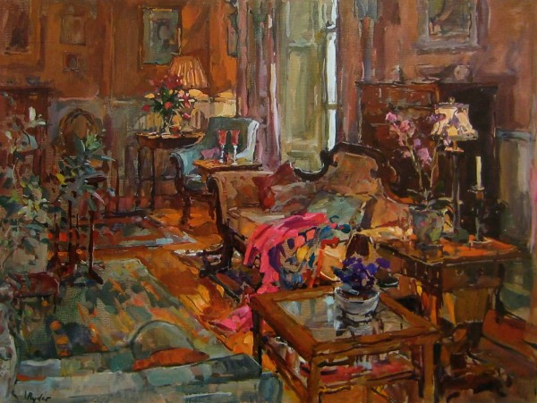 Houses in Art - Susan Ryder Drawing Room With Pink Shawl