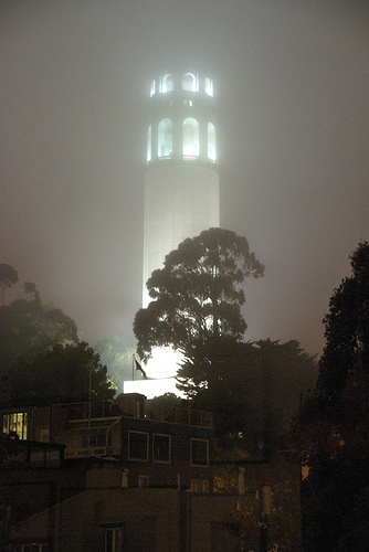 Foggy night view of Coit Tower