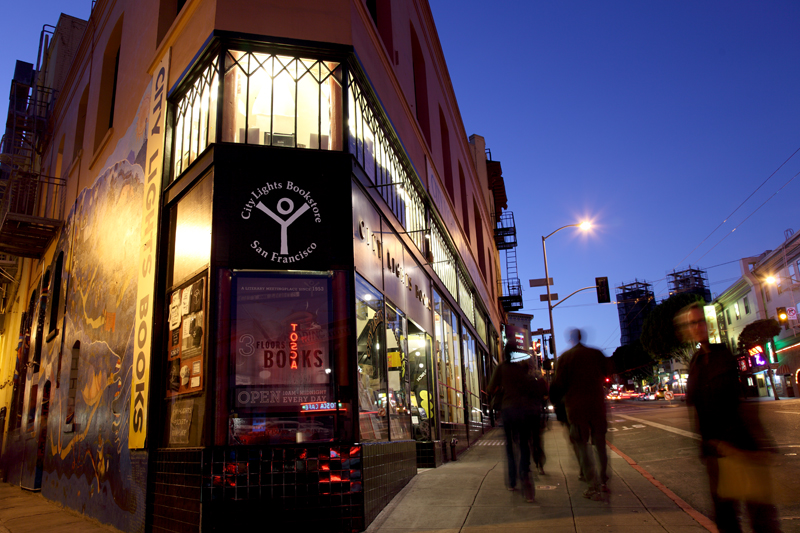 Twilight view of City Lights Bookstore