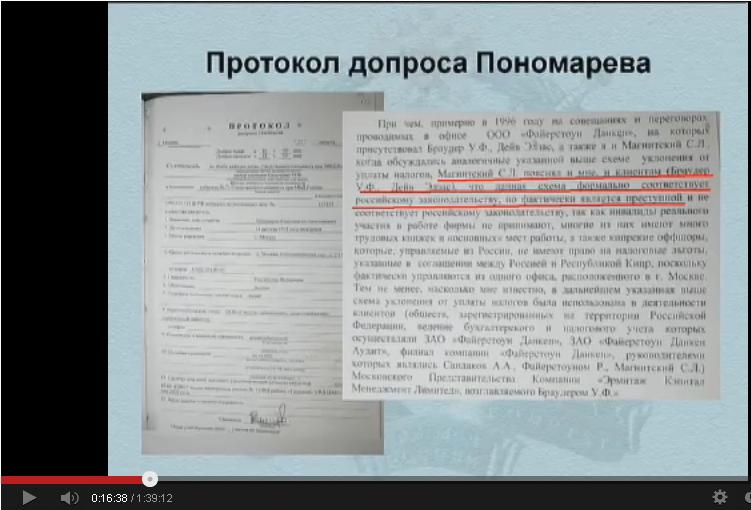 Допрос Пономарева.
