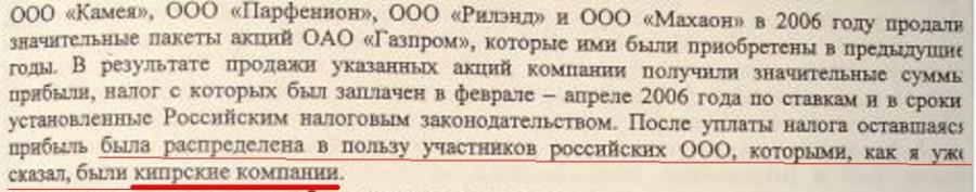 вывод денег от продажи 7% акций Газпрома на Кипр