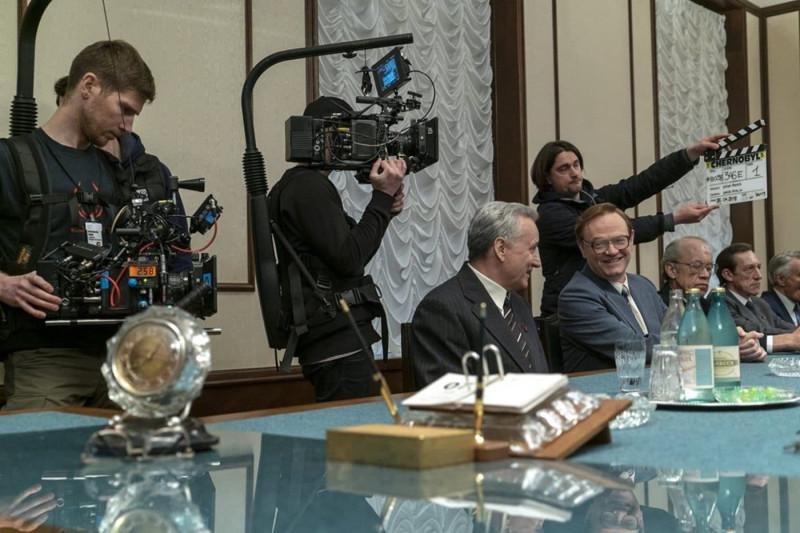 Стеллан Скарсгард (Борис Щербина) и Джаред Харрис (академик Легасов) на съемках сериала
