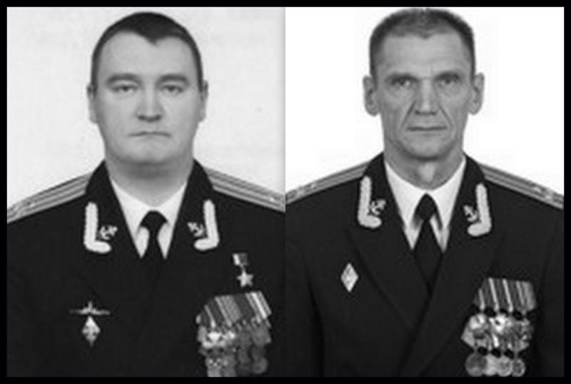 Герой России, капитан первого ранга Денис Владимирович Полонский - командир АС-12 и Герой России, капитан первого ранга Николай Иванович Филин