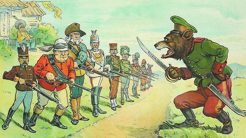 1902 metų karikatūra - civilizuotoji Europa vieningu frontu stovi prieš barbarišką Rusijos Mešką(žiū, ji ne t...