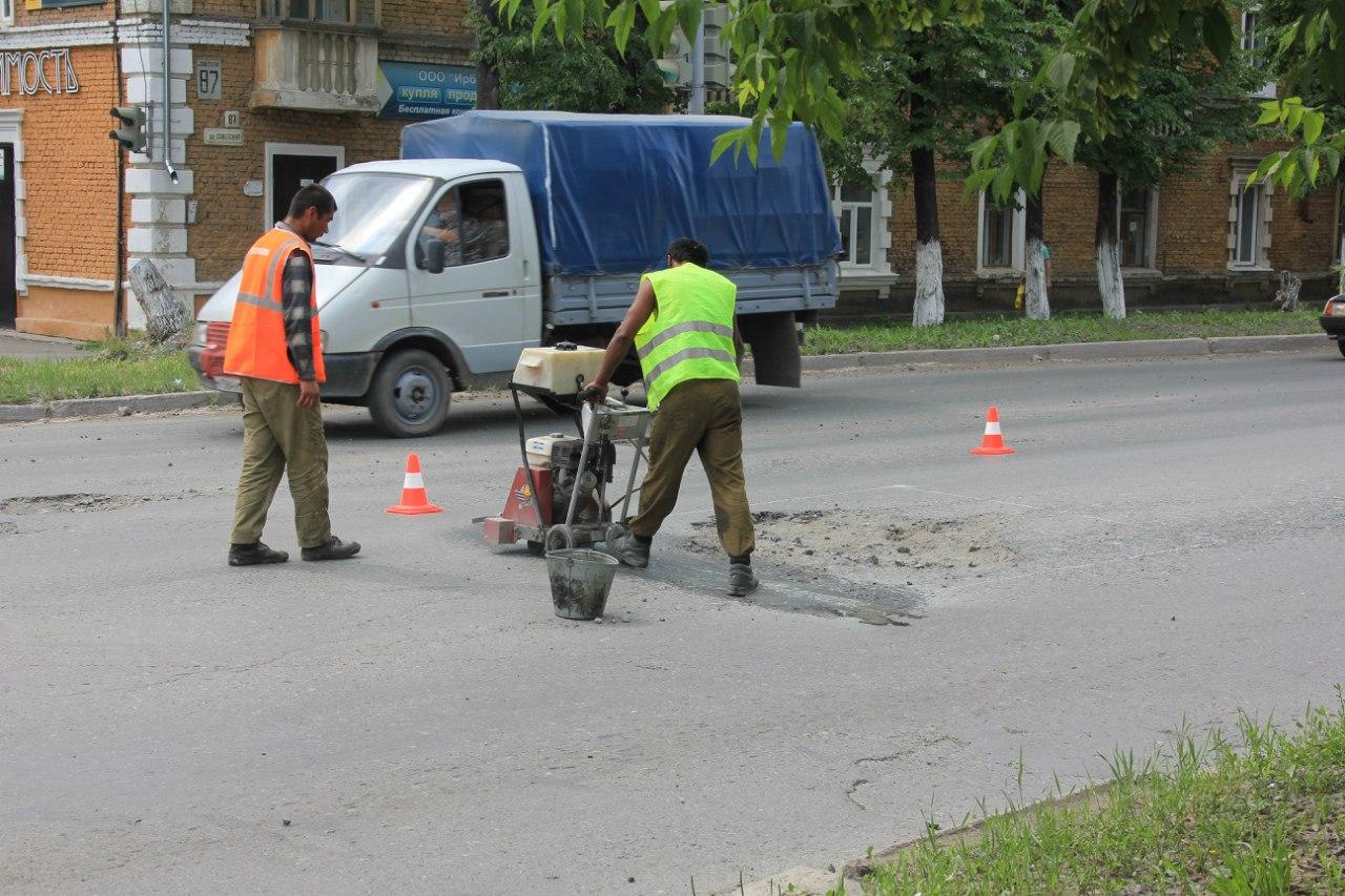 Резка асфальта на ул. Советская.   17 июня 2012 г.