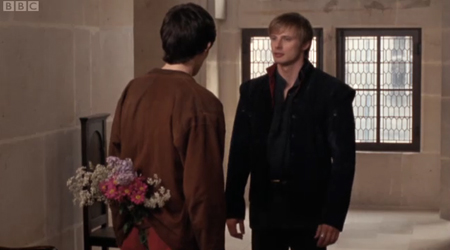 Here's Arthur, thinking as usual about Merlin's bottom.