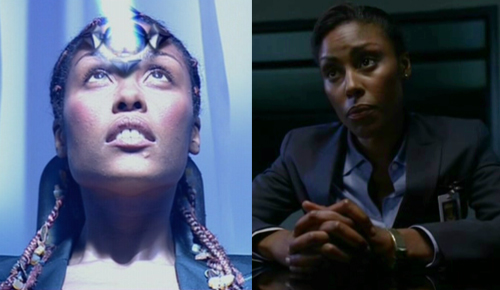 Christine Adams on Doctor Who (left) and Heroes (right)