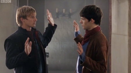 Arthur and Merlin are NOT going for a hug, all right?