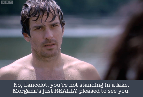 Lancelot gets wet. Actually, Lancelot gets everybody wet.