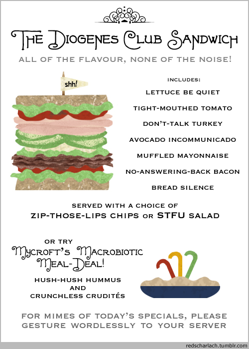 The Diogenes Club Sandwich: silent but deadly delicious!