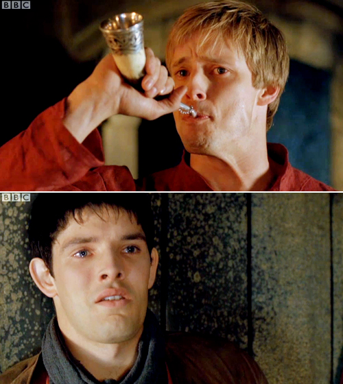 Arthur's blowing brings tears to Merlin's eyes.