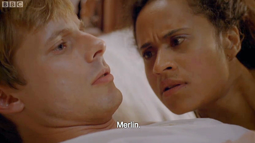 "Arthur wakes up muttering Merlin""s name."