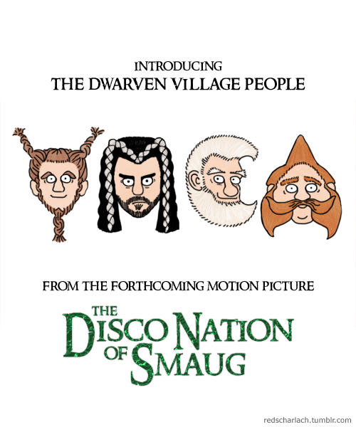 The YMCA Dwarves, as featured in the Hobbit sequel The Disco Nation of Smaug!