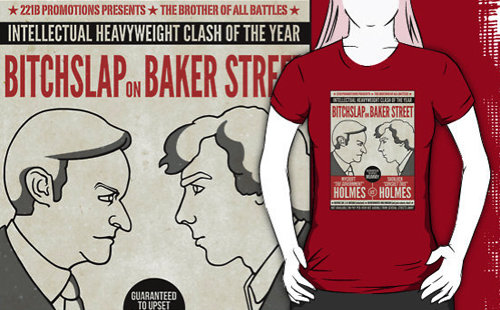 Mycroft and Sherlock on a shirt