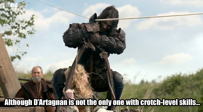 Although D'Artagnan is not the only one with crotch-level skills...