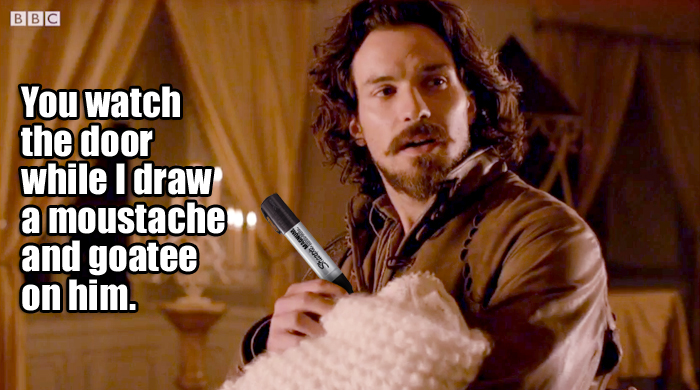 Aramis wields a mean anachronistic marker pen