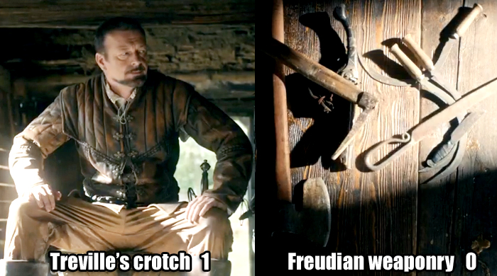 Treville's crotch 1, Freudian weaponry 0
