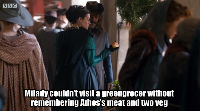Fondling the fruit but thinking mainly about Athos's meat and two veg