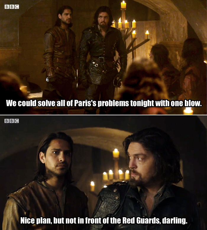 D'Artagnan hits Athos with his best line