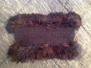 Purple cowl with fun fur edges