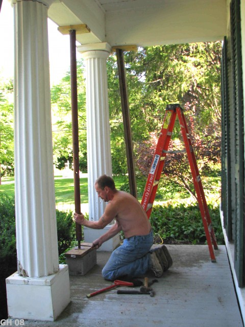 The First Step Was To Jack Up And Support Roof So We Could Replace Floor Repair Columns Here Mark Uses A Post Lift Porch