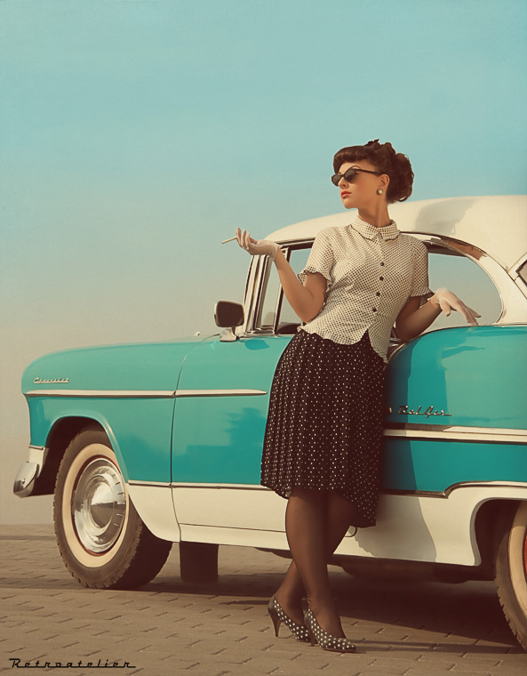 pin up girl and car 1955 chevy 1956 chevy. Black Bedroom Furniture Sets. Home Design Ideas