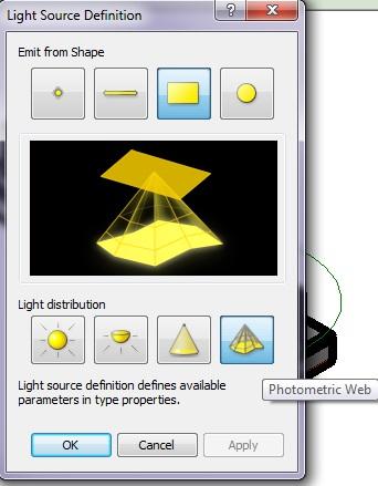Изменяем параметры Light Source Definiion в Revit 2012