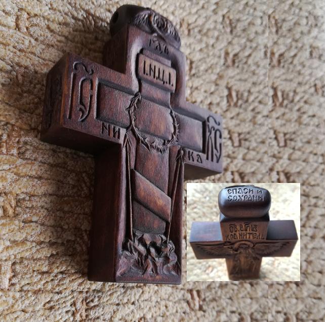деревянный крестик, ручная резьба