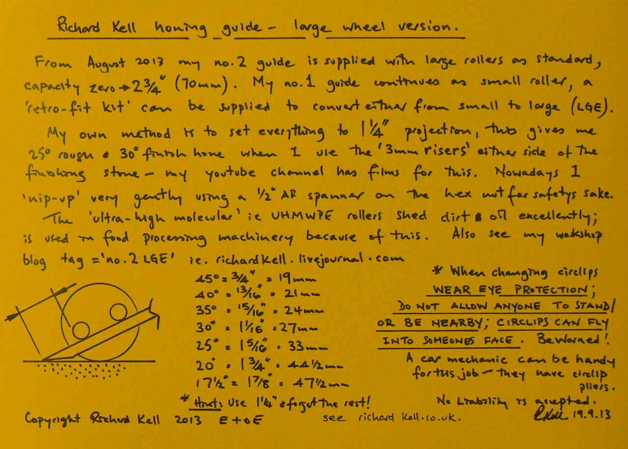 honing guide instruction leaflet for richard kell no.2 LGE