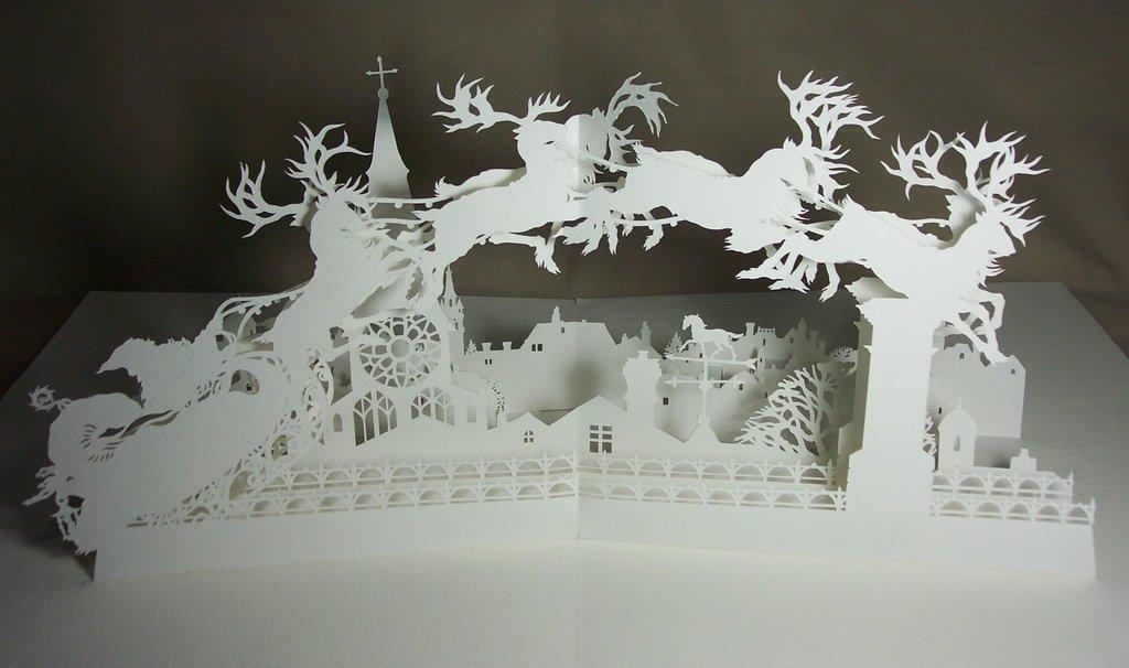 Рождественские открытка киригами, кота яйца блестят
