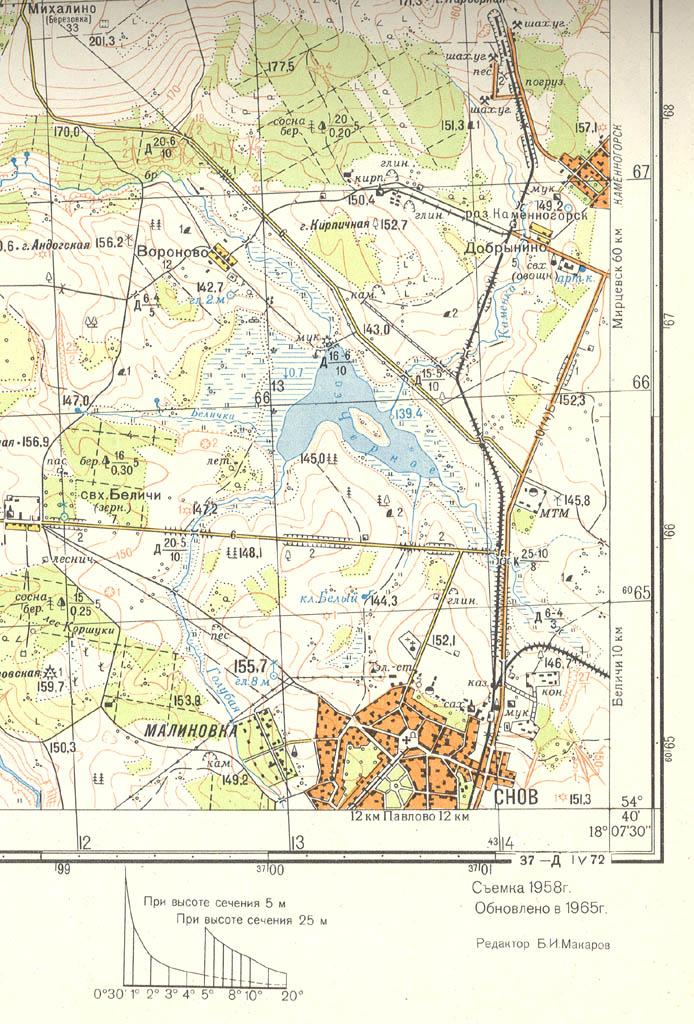 Учебная Топографическая Карта У-34-37-В Снов Масштаб 1 50000