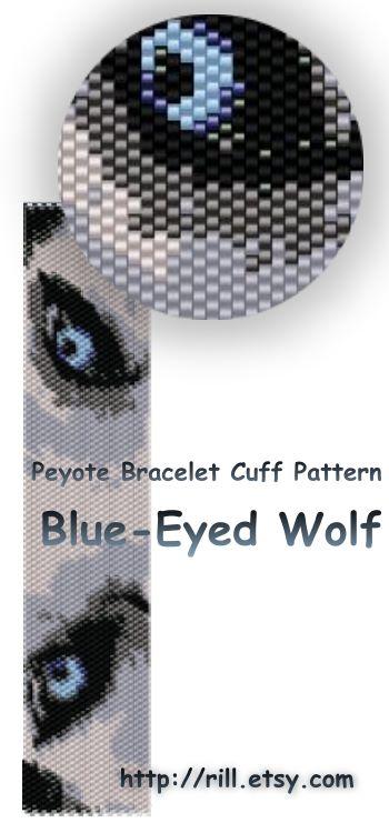 Волк на браслете из бисера схема
