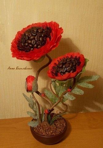 Фото цветов из кофейных зерен