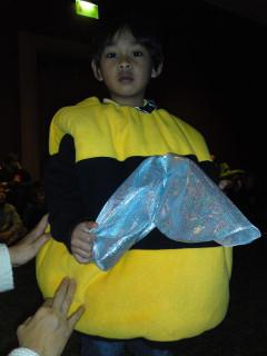 Akif in a bee costume
