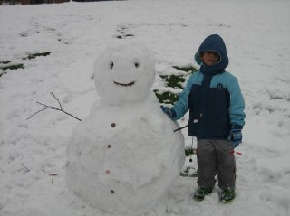 Akif with his new friend, the SnowBoy