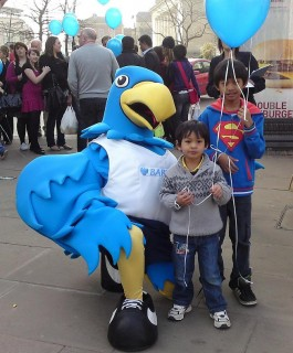 With the Mascot