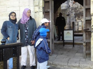 "At the tower""s entrance"