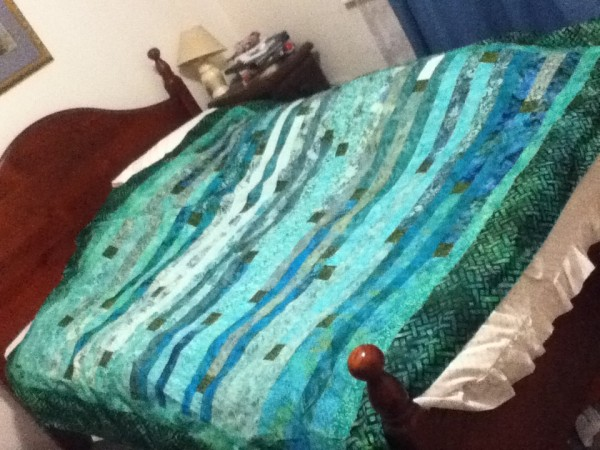green batik jelly roll quilt 002