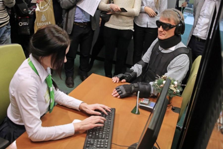 Греф в костюме инвалидности